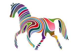 But I'm a horse! Cartoon image of a left facing trittong horse with curvy multi-colored stripes. Not quite like a zebra, nor a horse.