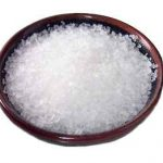 image of white salt crystals in small saucer