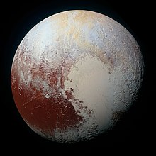 Colorized photo of the planet Pluto
